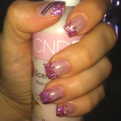 Pink glitter tips nails / nail art with stripes