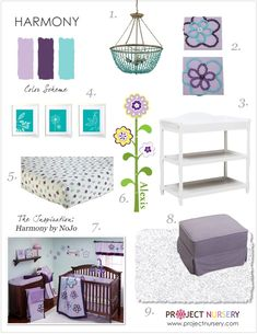 Lavender, Plum and Turquoise Baby Nursery inspiration board from @Project Nursery + Project Junior