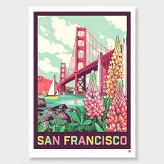 San Francisco Art Print by Ross Murray Graphic Posters, Graphic Art, Poster Prints, Framed Prints, Vintage Art Prints, Vintage Colors, Craft Beer Labels, San Francisco Art, Tourism Poster