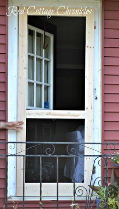 DIY Wood Screen Door Tutorial - redcottagechronicles.com