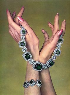 Harry Winston (Jewels) 1961 Necklace, Bracelet Vintage advert Jewelry ...I think it's funny how this style is back in including the nails!