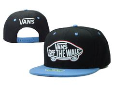 VANS Snapback Hats OFF THE Wall Hats Black/Blue 025! Only $8.90USD
