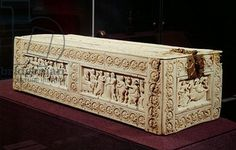 2ND GOLDEN AGE - SCULPTURE - 10th century - Represents the sacrifice of Iphigenia - Greek mythology - famous Greek drama by Euripides. Ivory casket - used for wedding gifts (jewelry-herbs). Tiny small-scaled relief. Ornamental playfulness - knobby little figures. No narrative. LOCATION: VICTORIA & ALBERT MUSEUM, LONDON, ENGLAND Early Christian, Christian Art, Byzantine Art, Victoria And Albert Museum, Casket, Greek Mythology, Roman Empire, London England, Golden Age