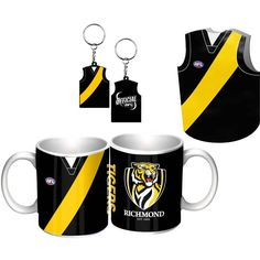 Richmond Tigers Guernsey Giftpack.  This Great Pack Features Guernsey Design Mug, Keyring, & Stubby Cooler. To see the full range of AFL merch, visit www.shop.afl.com.au