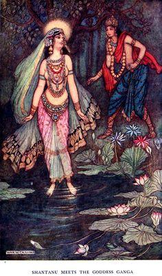 shantanu meets the goddess durga - warwick goble   'indian myth and legend', donald a. mackenzie, 1913