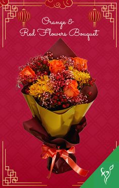 Product Details: 4 Orange Roses 4 Red Hypericums 3 Orange Chrysanthemums 5 Stems of Orange Baby's Breath Red Flower Bouquet, Red Flowers, Chinese New Year Gifts, Chrysanthemums, Orange Roses, Baby's Breath, Flowers Online, Stems, Drift Wood
