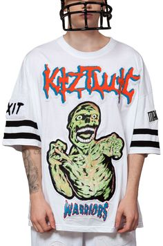 Indie Designs Zombie Embroidery Patched Big T-Shirt