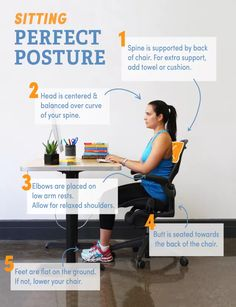 5 Tips For Perfect Posture When You Sit (Infographic). Perfect Posture, Good Posture, Improve Posture, Healthy Living Quotes, Healthy Living Tips, Healthy Habits, Healthy Tips, Wellness Fitness, Fitness Tips