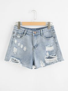 Shop Raw Hem Ripped Denim Shorts at ROMWE, discover more fashion styles online. Ripped Shorts, Ripped Denim, Cute Shorts, Women's Shorts, Women's Dresses, Denim Shorts Style, Pants For Women, Clothes For Women, Jeans Women