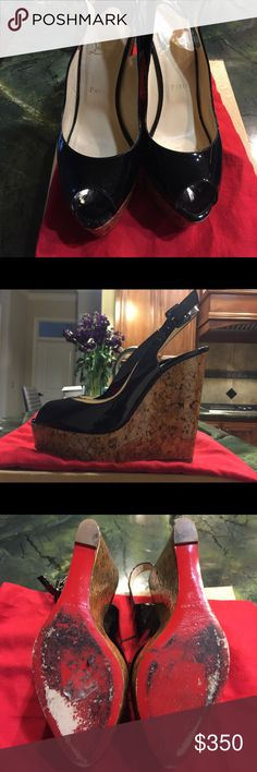 Christian Louboutin  Plume Slingback Wedge Size 40 Patent Leather Christian Louboutin Wedge Slingback! Worn one time, comes with box and dust bag! Christian Louboutin Shoes Wedges