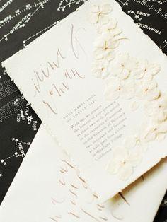 Romantic Poetry-Inspired Wedding Invitations via Oh So Beautiful Paper: http://ohsobeautifulpaper.com/2014/03/pressed-flower-wedding-invitations/ | Design + Photo: Umama | Calligraphy: M.K. Sadler #calligraphy #wedding
