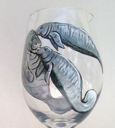 Manatee Wine Glass Tropical Ocean Hand Painted Wine Goblet (Custom Order) by roseartworks on Etsy