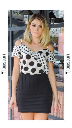 Moda Fashion Womens Fashion Look Do Dia Casual Looks Sewing Clothes Polka Dots Saree Winter Skirts Moda Fashion, Trendy Fashion, Fashion Looks, Fashion Outfits, Womens Fashion, Look Casual, Western Outfits, Blouse Patterns, Trendy Dresses