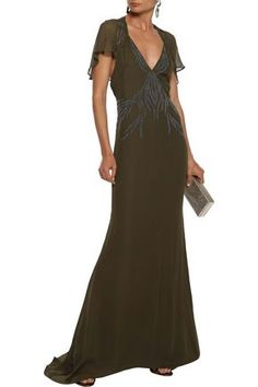 Shop on-sale Shaded Palm appliquéd georgette-paneled embellished silk crepe de chine gown. Browse other discount designer Gowns & more luxury fashion pieces at THE OUTNET Coat Dress, Jacket Dress, New Dress, Dress Outfits, Fashion Outfits, Denim Shop, Haute Hippie, Hippie Outfits, Designer Gowns