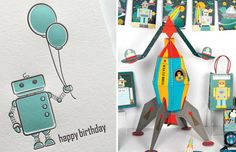 robot photo cards | ... robots for her letterpress cards. She designed a robot card for a few