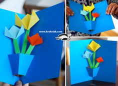 Paper Pop Up Interior Pop Up Flower Cards, Pop Up Cards, Art For Kids, Crafts For Kids, Kids Pop, Fathers Day Crafts, Mother's Day Diy, Mothers Day Cards, Creative Cards