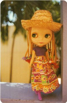 https://flic.kr/p/V2XhjJ   Postcrossing US-4701402   Postcard with a Blythe doll, sent to Postcrosser in Germany..  Blythe dolls originally came out in the early 1970s, but did not become popular until years later.  Today, Blythe dolls are collector's items.