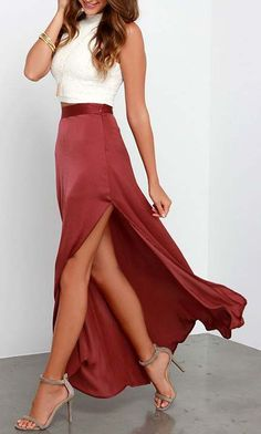 I prefer a fuller skirt and/or a slit so that I can walk easily. Way to Sway Wine Red Maxi Skirt at Lulus.com!