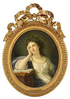 Vente le samedi 28 juin 2014 par Marseille Enchères - Anne VALLAYER-COSTER (Paris, 1744-1818) Jeune femme accoudée sur un livre de lecture Toile ovale,46 x 38 cm,  Estimation : 10 000 € - 15 000 €