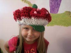 Free Strawberry Shortcake hat crochet pattern from Under the Sun