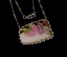 Hydrangea Broken china jewelry necklace by Dishfunctional Designs