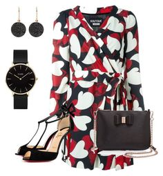 """""""Red and Black"""" by vivian-rose-turner on Polyvore featuring Boutique Moschino, Ted Baker, Christian Louboutin, CLUSE and Astley Clarke"""