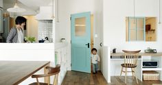 blue-green door and window. Home And Living, Living Room, Japanese Interior, Japanese House, Home And Deco, Home Studio, Door Design, Kitchen Interior, Building A House