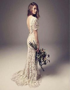Vintage Wedding Dresses Sheath Column Backless Full Lace Boho Bridal Gowns with Illusion Short Sleeves Sweep Train Cheap High Quality