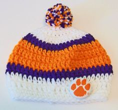 Items similar to Clemson Tigers Inspired Orange, Purple and White Hand Crocheted Baby and Childrens Pom Pom Hat Great Photo Prop 5 Sizes Available on Etsy Sc Crochet, Crochet Kids Hats, Thread Crochet, Crochet Gifts, Hand Crochet, Crochet Things, Penguin Hat, Crochet Penguin, Crochet Patterns