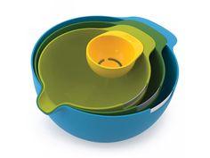 Míchací mísy JOSEPH JOSEPH Nest™ Mix. 3x míchací mísa - hrana na rozklepnutí vajec - oddělovač žloutků