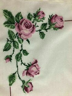 This Pin was discovered by Şen Cross Stitch Borders, Cross Stitch Rose, Cross Stitch Flowers, Cross Stitch Designs, Cross Stitching, Cross Patterns, Counted Cross Stitch Patterns, Cross Stitch Embroidery, Hand Embroidery