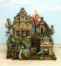 Dept 56 Lemax Tall Halloween Village Display Platform 15 5x16 9 Grimsly RD Trees   eBay