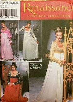 "Renaissance Dress McCall's Costume Pattern 9531 Uncut  Size 6-8-10-12  Bust 30.5 to 34"""