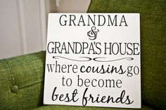 Jumble Beans Vinyl: Grandma and Grandpa's House Vinyl Quote on Board