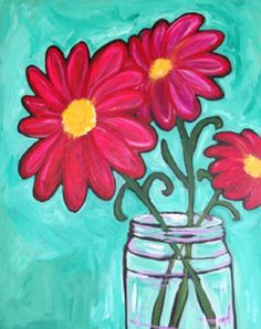 Painted Daisies of Summer Painted daisies in a mason jar reminds me of summers past and visiting my grandmother's farm.  Whatever your memories of daisies and summer, capture them again in this bright colorful painting!