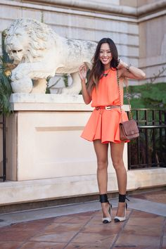 Cameo Bless This Mess Dress in orange | Song of Style