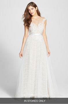 Main Image - Watters Farah Tulle, Lace & Charmeuse Gown (In Stores Only)