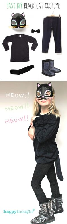 Easy black cat costume idea for Halloween. #halloween https://happythought.co.uk/product/easy-printable-animal-masks