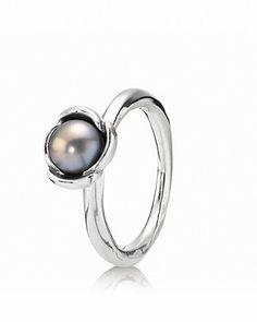 PANDORA Ring - Sterling Silver & Grey Freshwater Pearl Bloom | Bloomingdale's