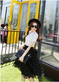 Set đầm chấm bi thời trang - MSP: Set 56 - Set trang phục   tutushop.vn