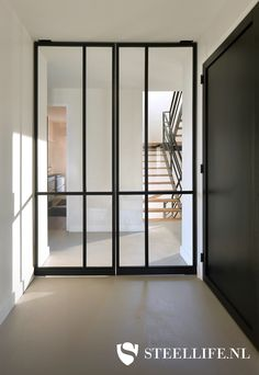 A steel pivoting door can open to both sides and rotates about its vertical axis. See examples. Ask for a price, within 24 offer! House Doors, Modern House Design, Home Decor Styles, Room Decor Bedroom, Home Interior Design, Room Inspiration, Living Room Designs, New Homes, Decoration