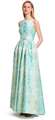 1960s Prom Dress in Teal, Boatneck Sleeveless Floral Ball Gown $260.00 AT vintagedancer.com