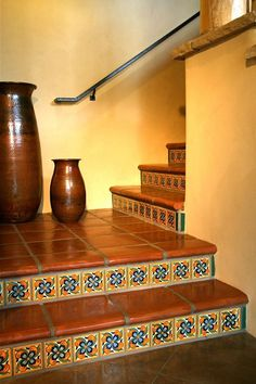Stair Coping , Classic- width, Mexican Saltillo Floor Paver Basement basement in spanish Spanish Style Homes, Spanish House, Spanish Revival, Spanish Colonial, Tile Stairs, Tiled Staircase, Basement Stairs, Mexican Home Decor, Spanish Tile