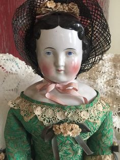 ANTIQUE Large German China Shoulder Head CONTA BOEHME Doll Flat Top Hi Brow 25""
