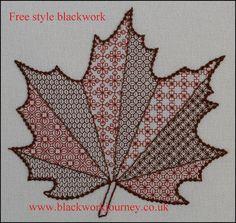 Free style blackwork Acer Leaf.  www.blackworkjourney.co.uk