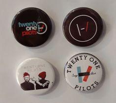 Set of 4 Button Badges. Size: 25 cm (1 inch). Button Badge, Twenty One Pilots, Badges, The Twenties, Badge, Lapel Pins