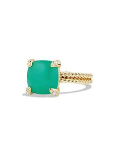 David Yurman - Chatelaine Ring with Chrysoprase and Diamonds in 18K Gold