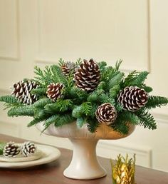 Winter White Evergreen Centerpiece