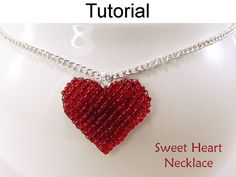 Heart Beading Tutorial Beaded Heart Necklace by SimpleBeadPatterns