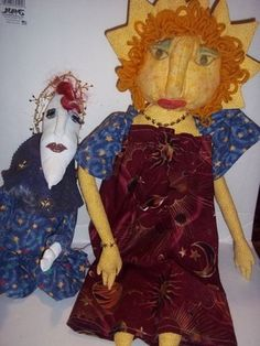 SOLD  $15.00 Rag dolls? Material Dolls? I've no idea what to call them other than Very Fun and added to my collection Of the Unique